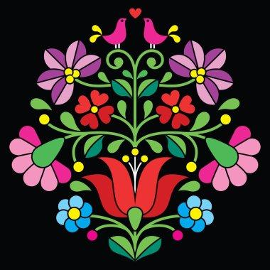 Kalocsai embroidery - Hungarian floral folk pattern on black