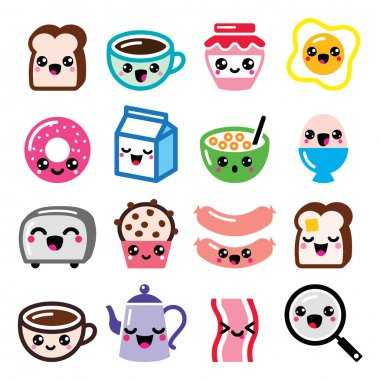 icons set of Japanese Kawaii cartoon characters
