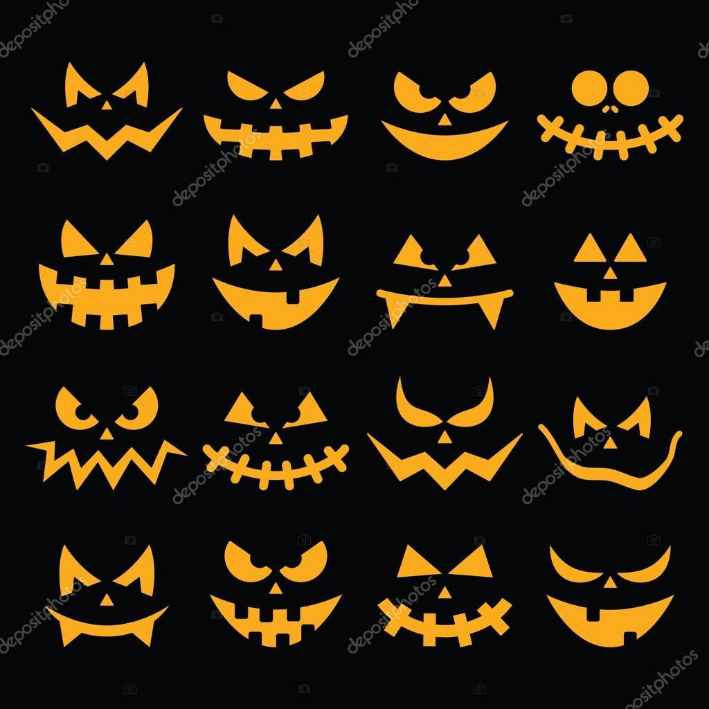 Scary Halloween Orange Kürbis Gesichter Symbole Auf Schwarz Gesetzt