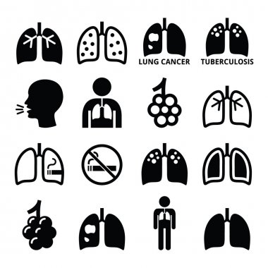 Lungs, lung disease icons set - tuberculosis, cancer