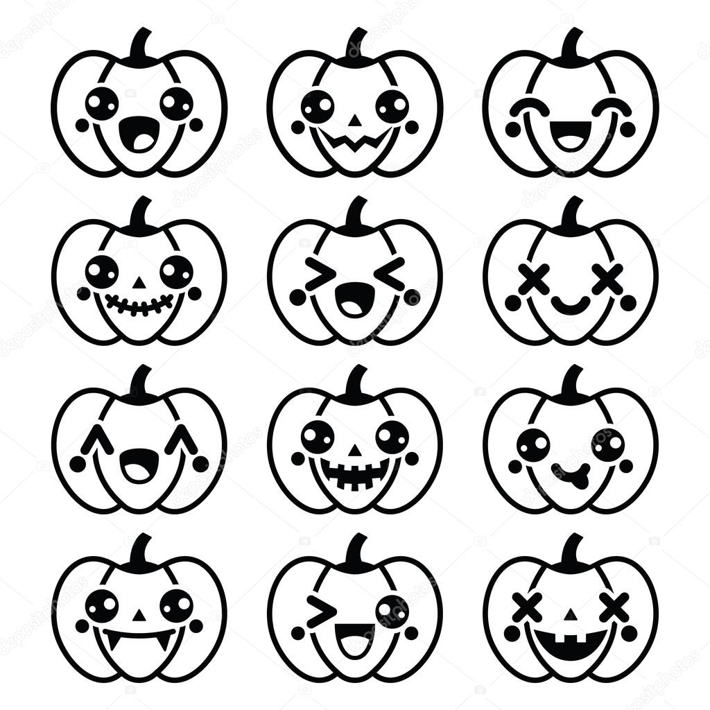 Mignons Noirs Icônes Citrouilles Halloween Kawaii Vector