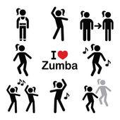 Zumba tánc, edzés fitnesz ikonok beállítása