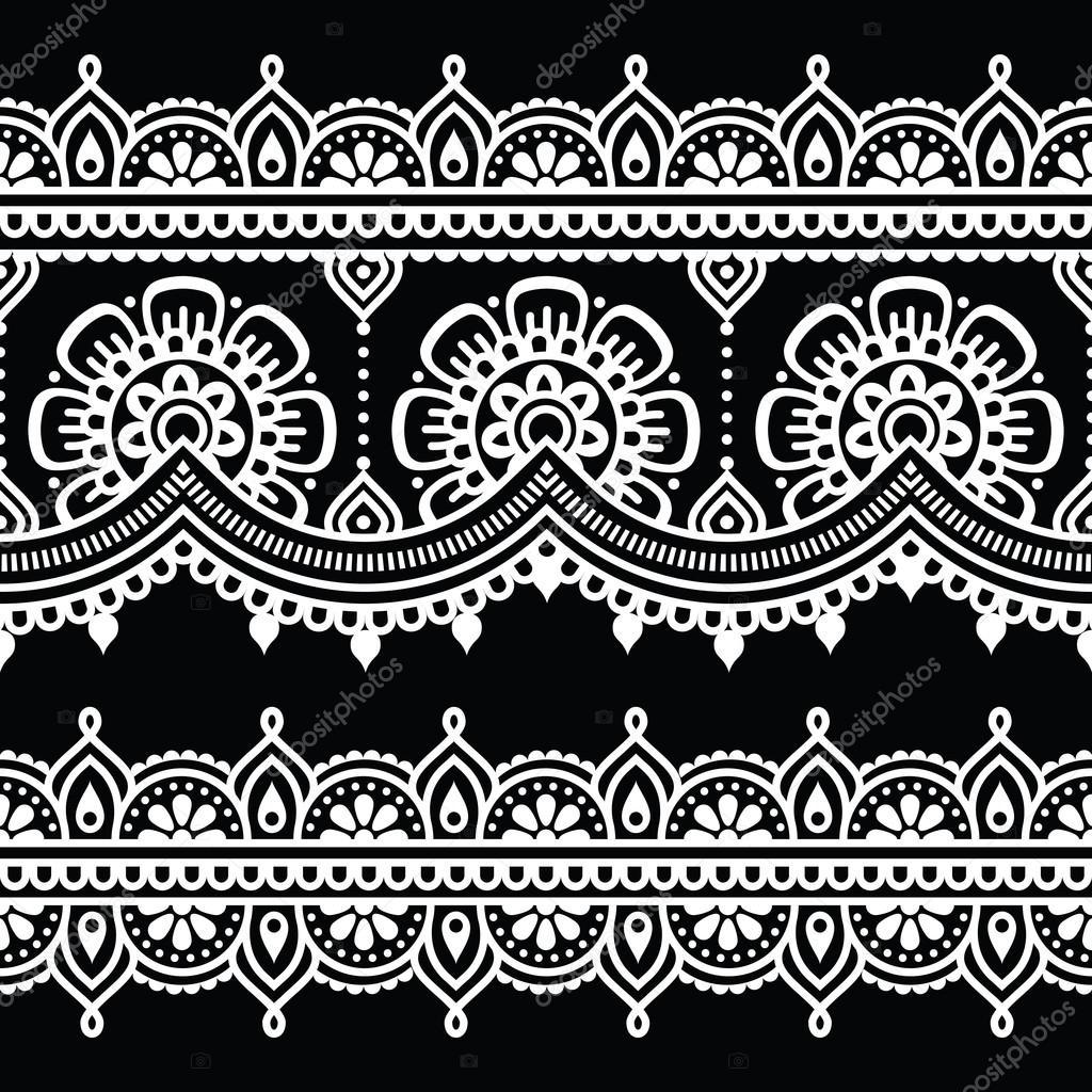 mehndi indische henna wei t towierung nahtlose muster. Black Bedroom Furniture Sets. Home Design Ideas