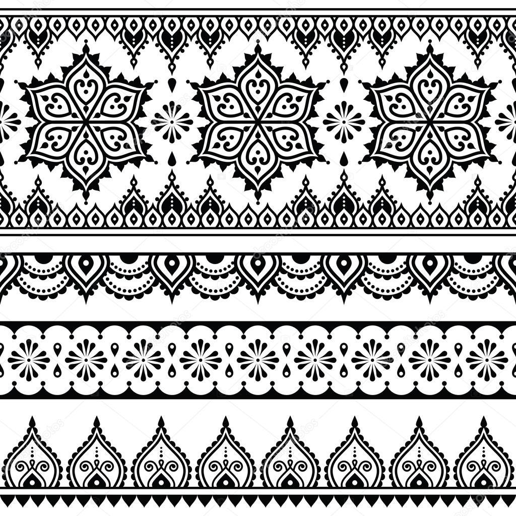 Mehndi, patrones sin fisuras del tatuaje de Henna indio, elemento de ...