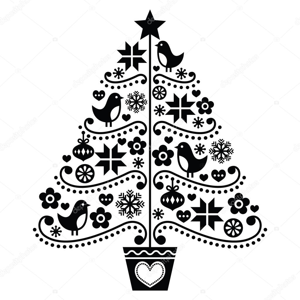 Weihnachtsbaum Design Folk Stil Mit Vogeln Blumen Und