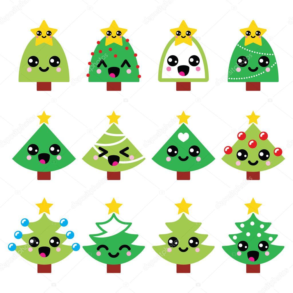 Cute Kawaii Christmas green tree with star vector icons set — Stock ...