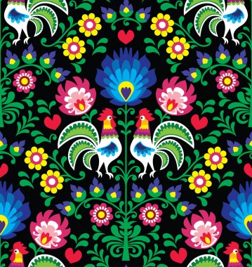 Seamless Polish folk art pattern with roosters - Wzory Lowickie, Wycinanka