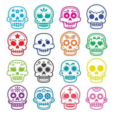 Halloween, Mexican sugar skull, Dia de los Muertos - cartoon icons
