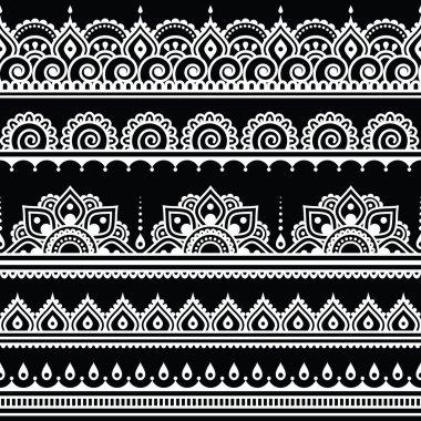 Mehndi, Indian Henna tattoo seamless white pattern on black background
