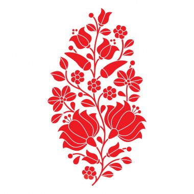 Hungarian red folk pattern - Kalocsai embroidery with flowers and paprika