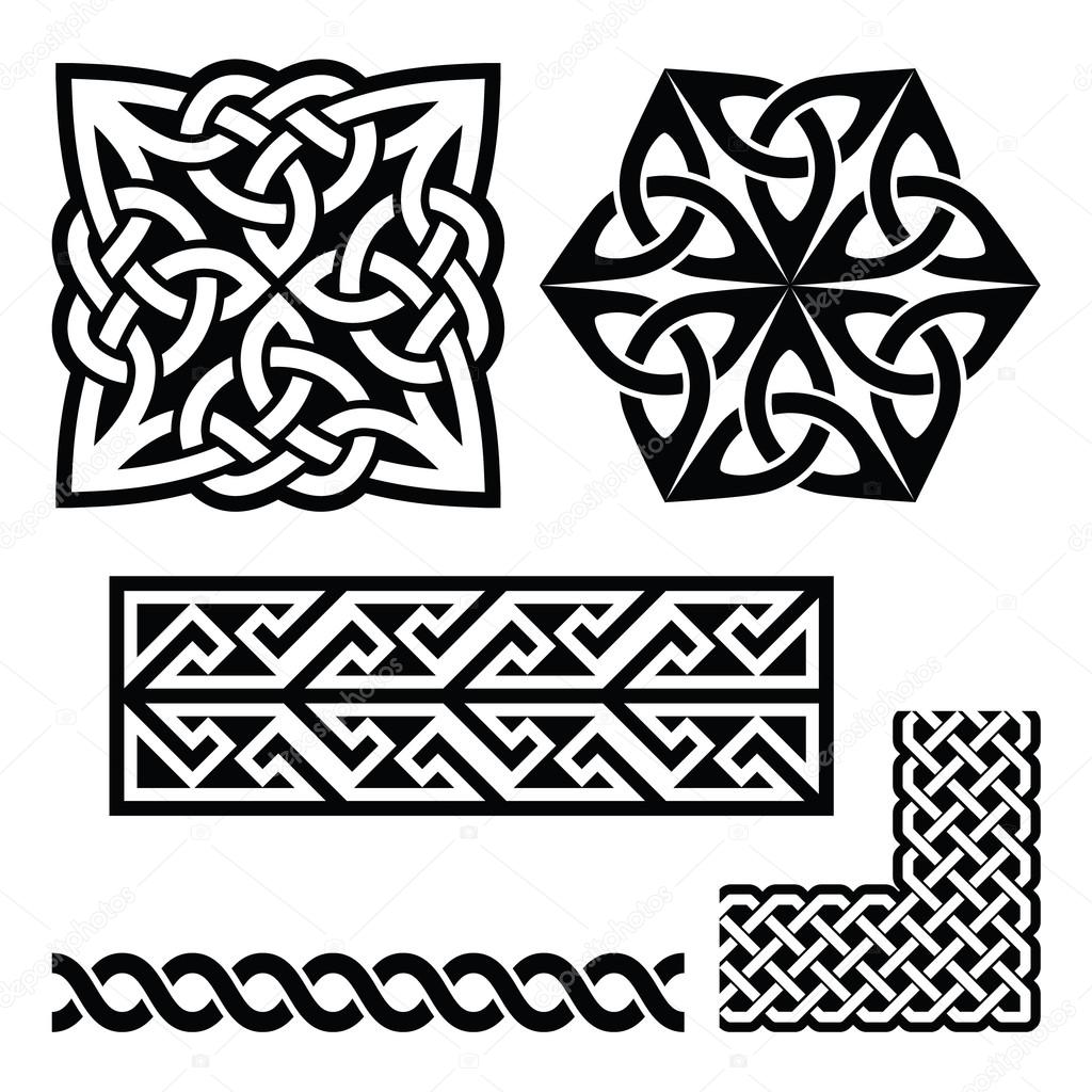 Celtic irish and scottish patterns knots braids key patterns vector set of traditional celtic symbols knots braids in black isolated on white vector by redkoala buycottarizona
