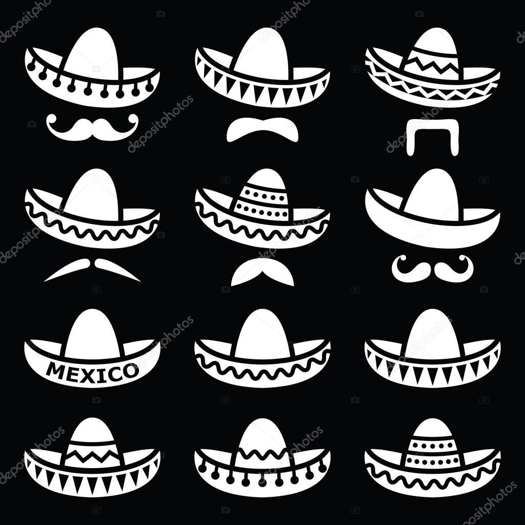 Conjunto de iconos de vector de Sombrero aislado en fondo negro - fondo   sombrero mexicano blanco — Vector de RedKoala — Vector de RedKoala 808983660e1