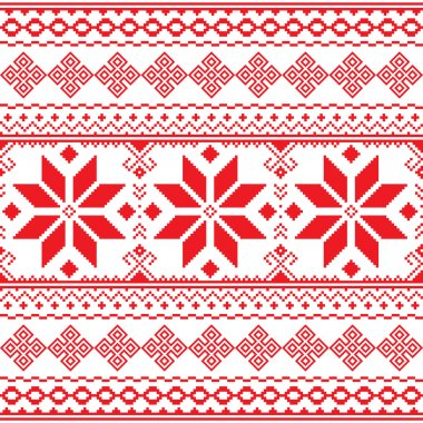 Traditional folk red embroidery pattern from Ukraine or Belarus - Vyshyvanka