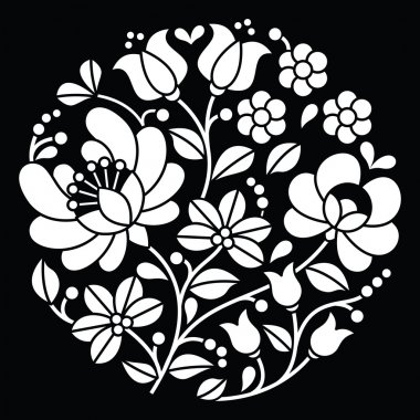 Kalocsai white embroidery - Hungarian round floral folk art pattern on black