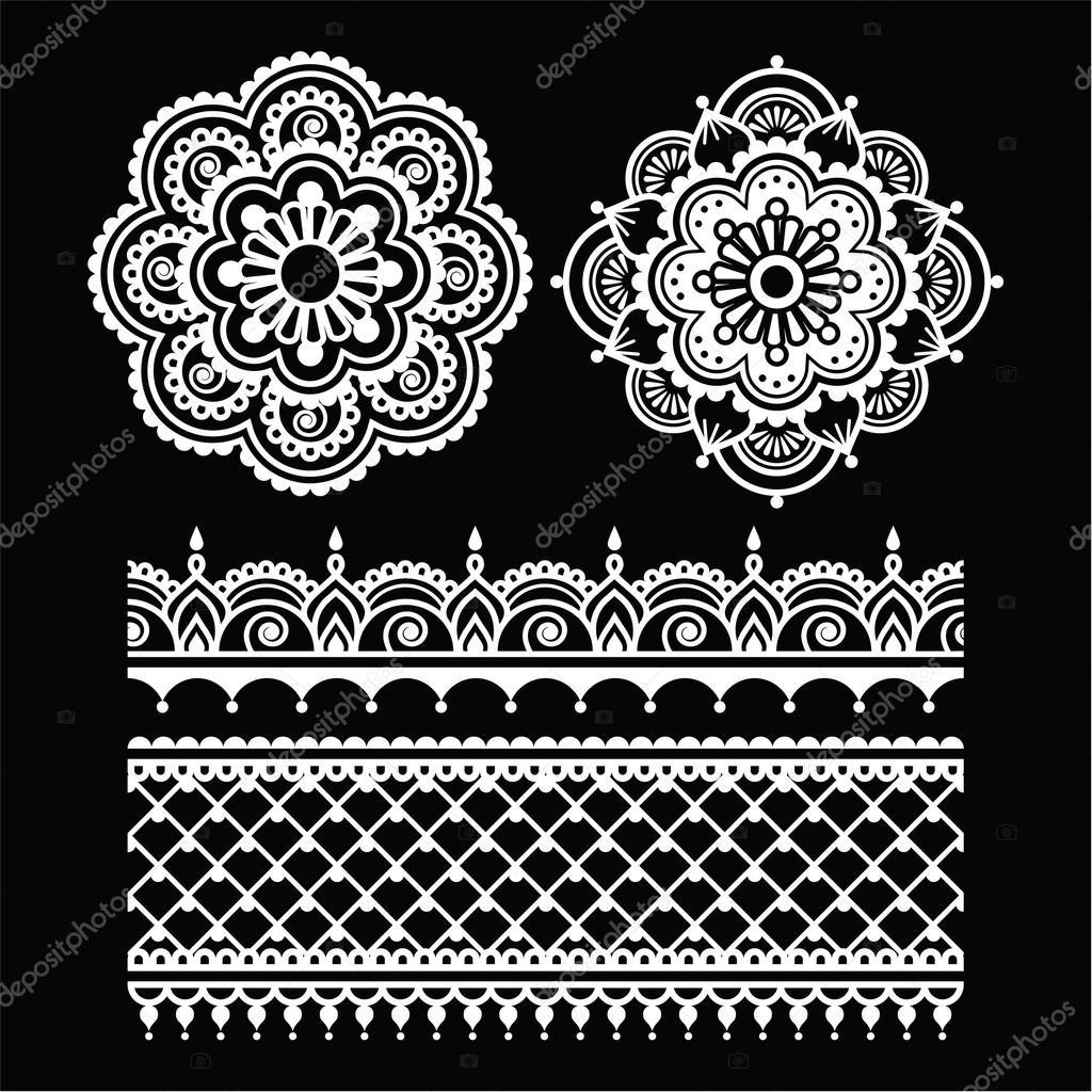 Henna Tattoo Schwarz Allergie: Mehndi, Indische Henna Tätowierung Weiß Nahtlose Muster