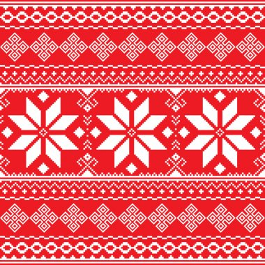 Traditional folk red and white embroidery pattern from Ukraine or Belarus - Vyshyvanka