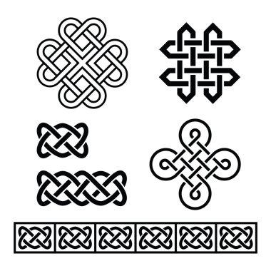 Celtic Irish patterns and braids - vector