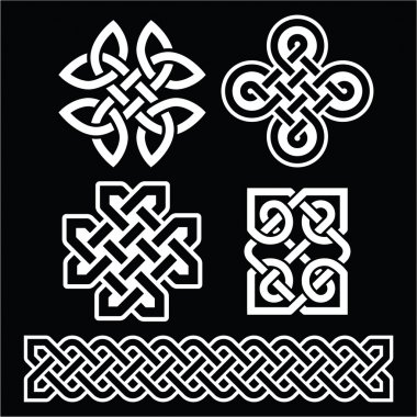 Celtic Irish patterns and braids on black