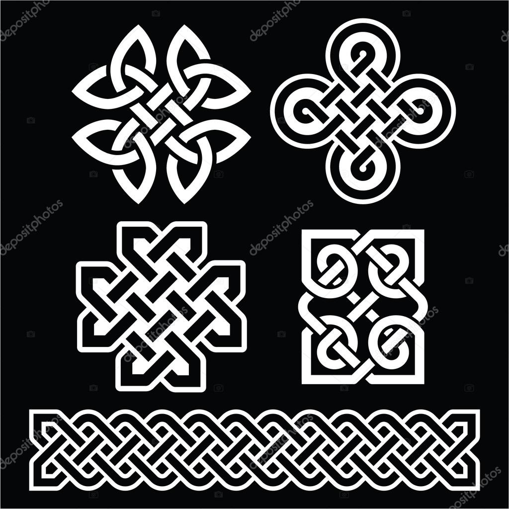 Celtic irish patterns and braids on black stock vector celtic irish patterns and braids on black stock vector buycottarizona Image collections