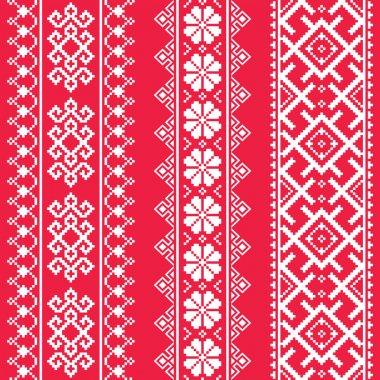 Ukrainian, Belarusian white embroidery seamless pattern on red - Vyshyvanka