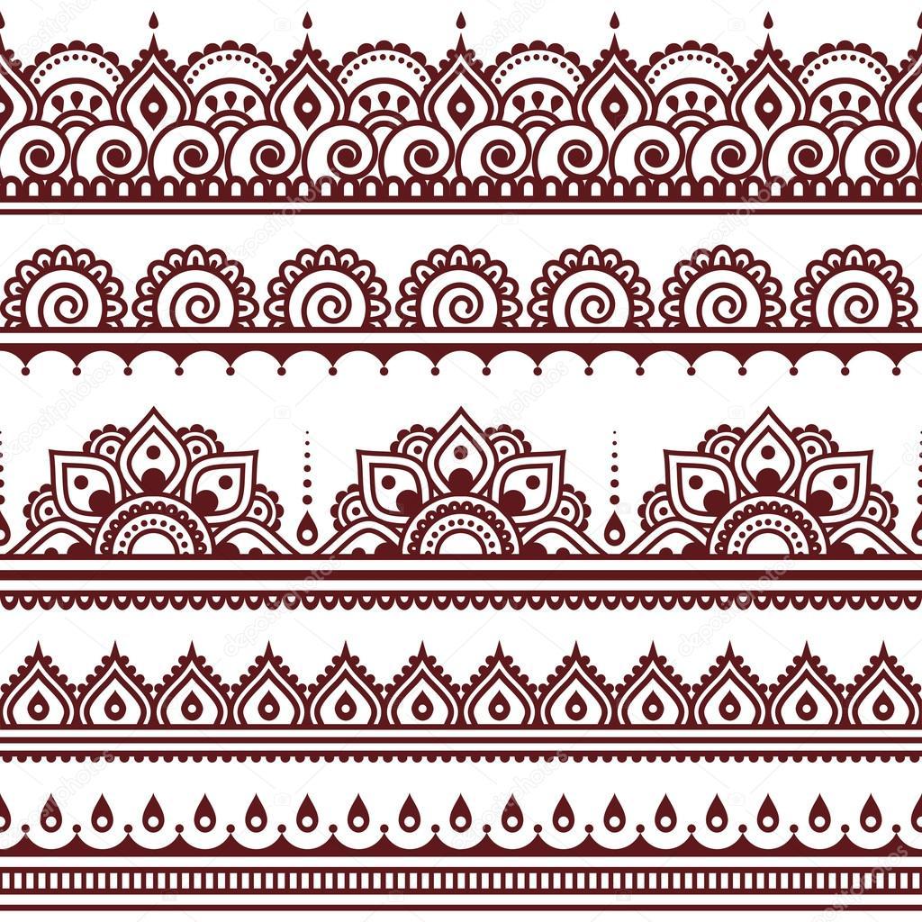 mehndi indische henna tattoo braun nahtlose muster. Black Bedroom Furniture Sets. Home Design Ideas