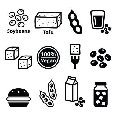 Soy beans, soya, tofu icons set