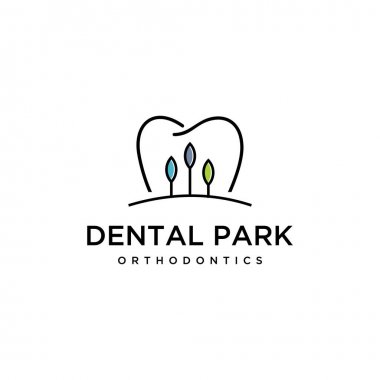 Illustration of abstract tooth dental mark with a view of trees inside logo design.