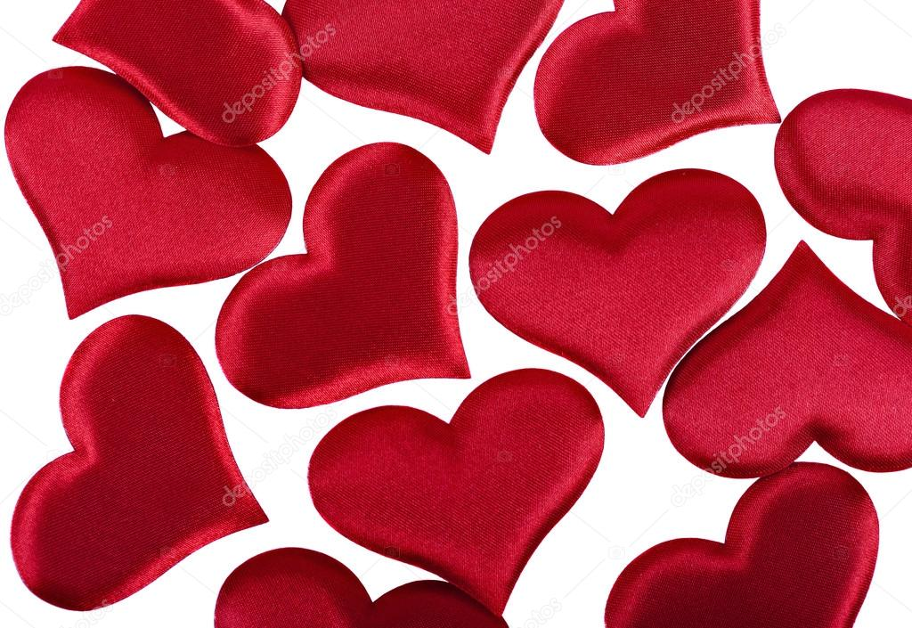 Red Heart Valentine S Day Symbols On A White Background Closeup
