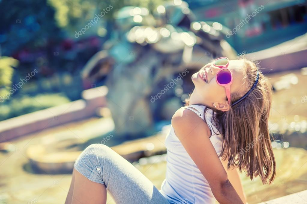 Beautiful Young Girl Teen Outdoor Happy Pre-Teen Girl With Braces And Glasses Summer -6496