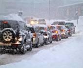 Blizzard na silnici.