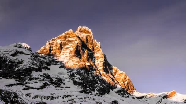 Matterhorn, time lapse in a winter sunset