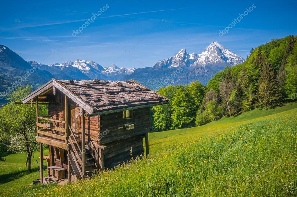Paesaggio di primavera idilliaca nelle alpi con cottage for Piani di costruzione di cottage gratuiti