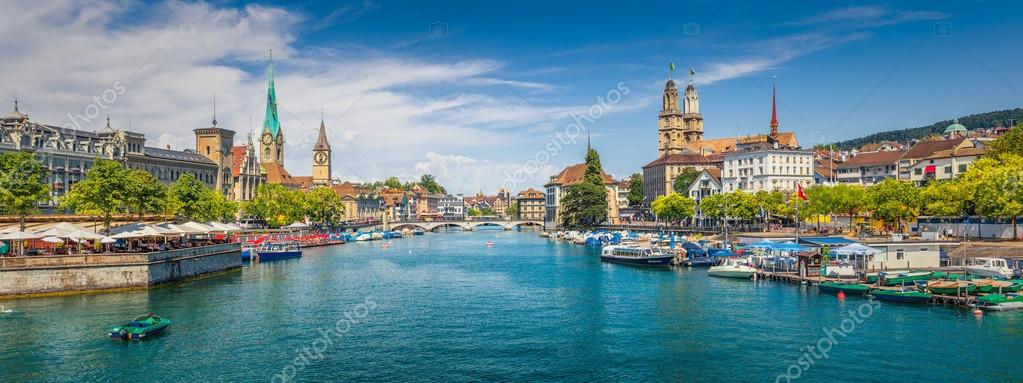 historic zurich city center with famous river limmat switzerland
