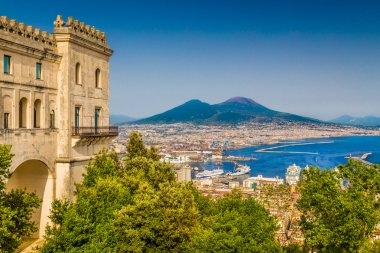 Aerial view of Naples with Mt Vesuvius, Campania, Italy