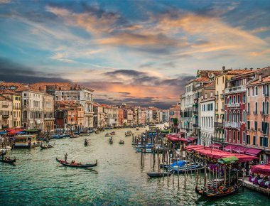 Canal Grande from famous Rialto Bridge at sunset, Venice, Italy
