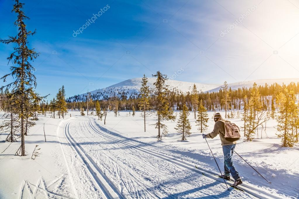 Tourist cross-country skiing in Scandinavia at sunset