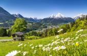 idyllische Berglandschaft in den Alpen mit traditioneller Berghütte im Frühling