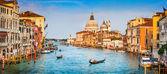 Canal Grande Basilica di Santa Maria della Salute při západu slunce, Benátky, Itálie
