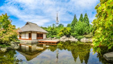 Japanese Garden in Planten um Blomen park with teahouse in Hamburg, Germany