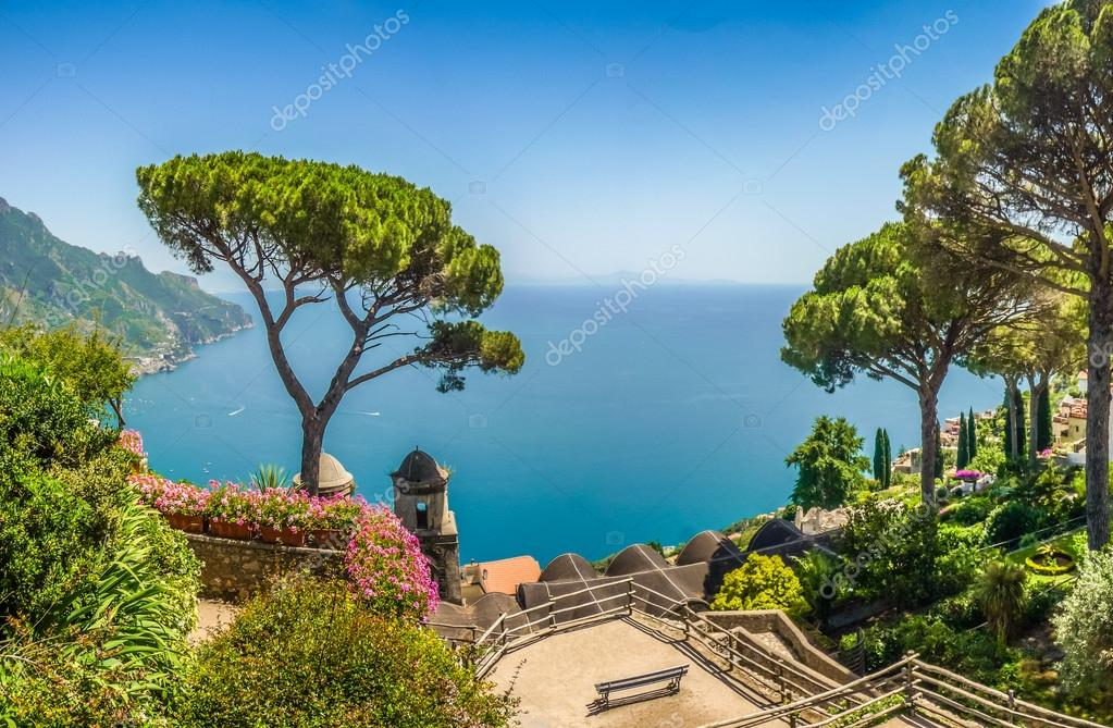 Scenic picture-postcard view of famous Amalfi Coast with Gulf of Salerno, Ravello, Campania, Italy