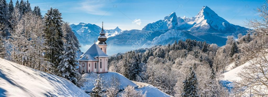 Beautiful winter landscape in the Bavarian Alps, Germany
