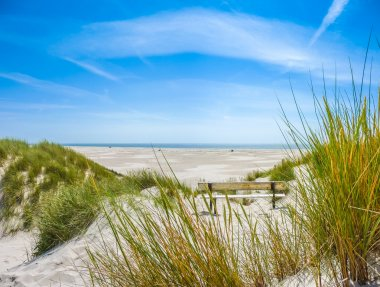 Beautiful dune landscape and long beach at North Sea