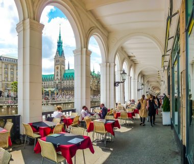 Hamburg city center with coffee shop and town hall, Germany