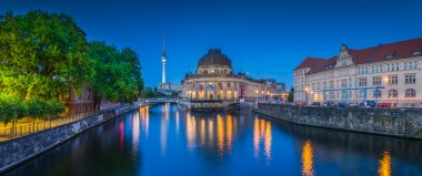 Berlin Museumsinsel with TV tower and Spree river at night, Germany
