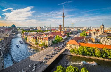 Berlin skyline panorama with Spree river at sunset, Germany