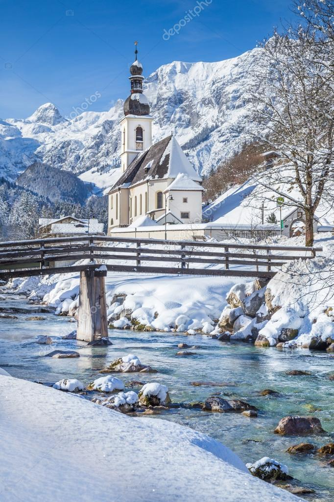 Ramsau in winter, Berchtesgadener Land, Bavaria, Germany