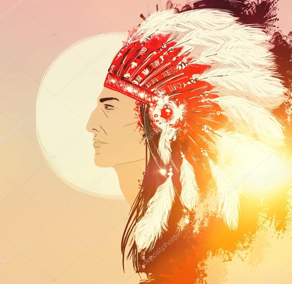 Retrato de indio con tocado de plumas — Foto de stock © Chevnenko ...