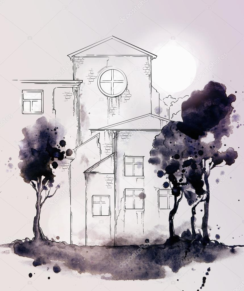 old house with trees