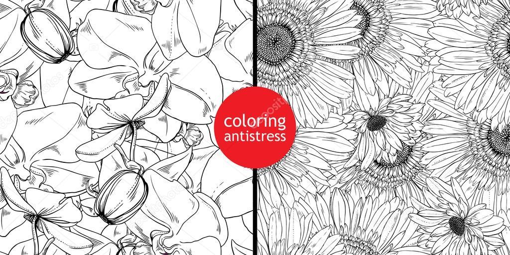 patrones de flores y hojas — Archivo Imágenes Vectoriales ...