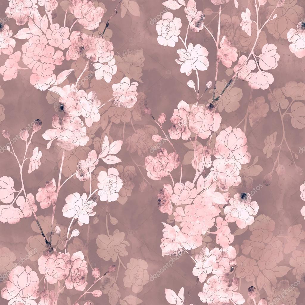 Japanese Hand Painted Wallpaper Japanese Sakura Blossom Seamless